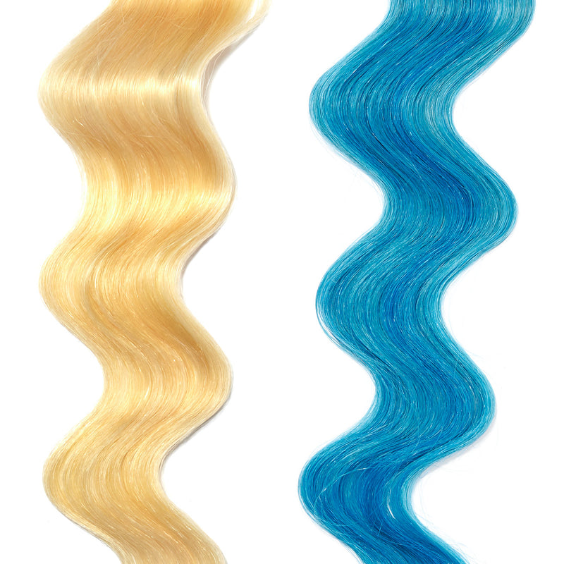 turquoise hair color on platinum blonde hair