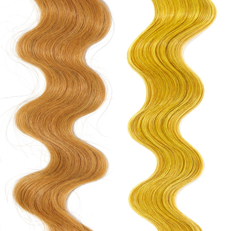 bright yellow hair color on light blonde hair