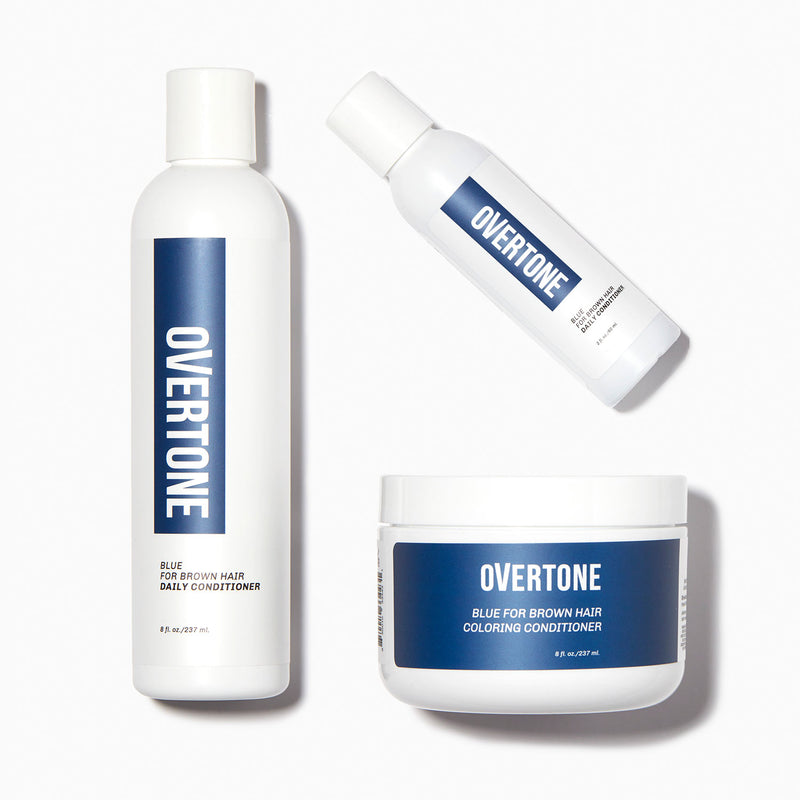 oVertone Blue For Brown Hair Complete System