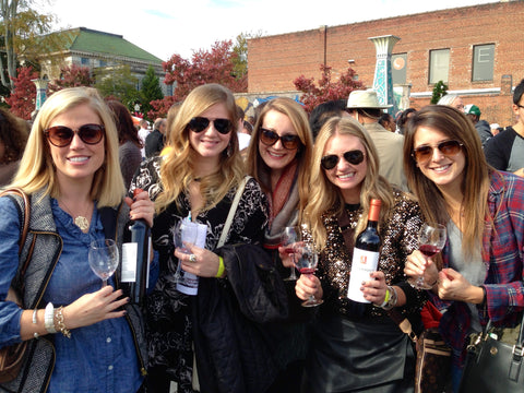 ladies at the Decatur Wine Festival enjoying Ousterhout Wine, 11/2014
