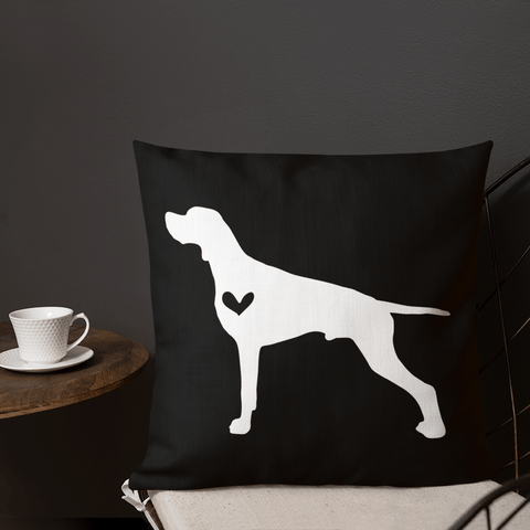 Pointer dog silhouette custom black and white pillow