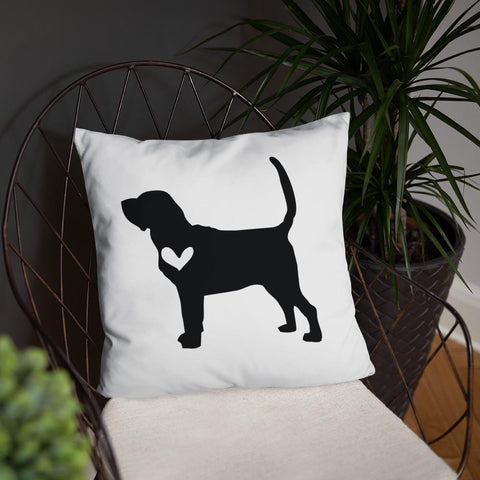 Bloodhound dog silhouette custom black and white pillow