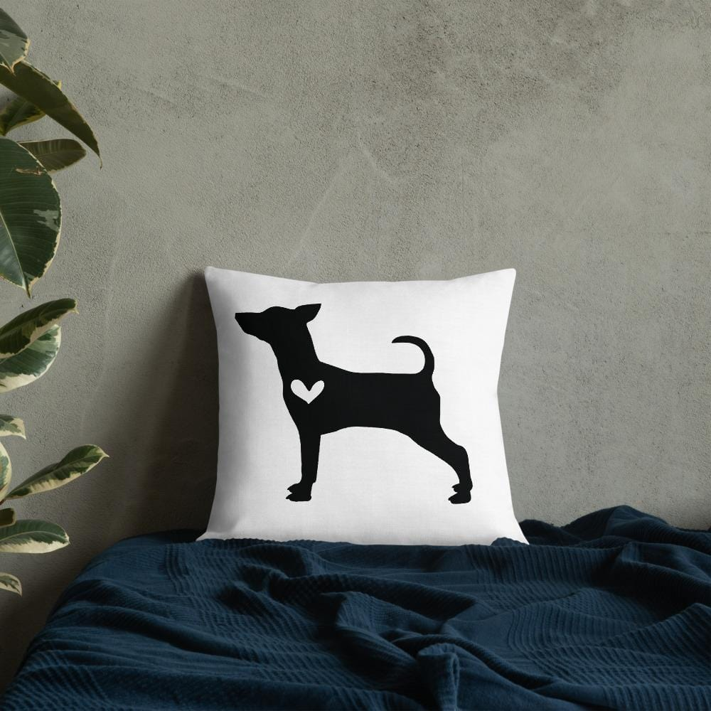Pinscher dog silhouette custom black and white pillow