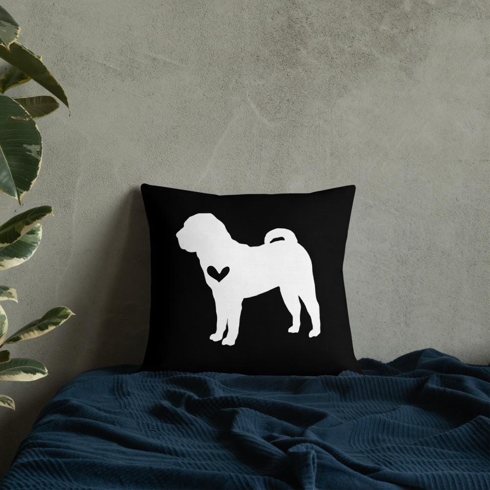 Shar Pei dog silhouette custom black and white pillow