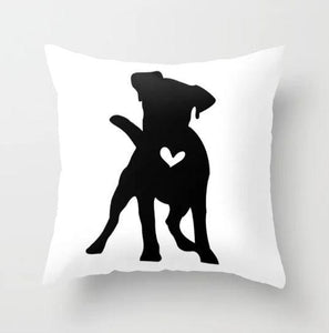 Pit Bull  dog silhouette custom black and white pillow