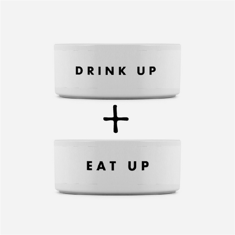 "Pet Set Food And Water Bowls - ""EAT UP + DRINK UP"""