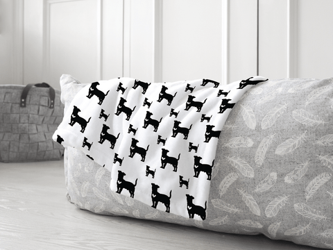 Jack Russell dog silhouette soft pet blanket