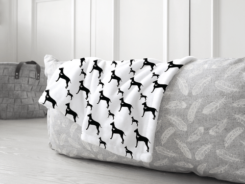 Great Dane dog silhouette soft pet blanket