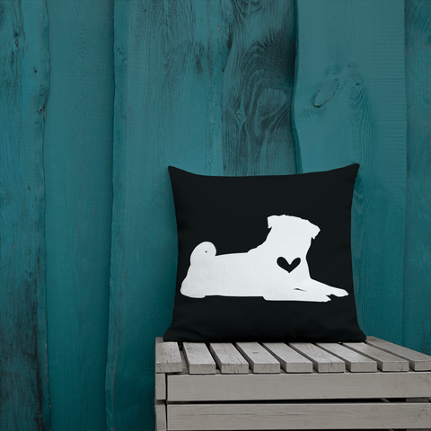 Pug dog silhouette custom black and white pillow