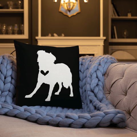 Border Collie dog silhouette custom black and white pillow