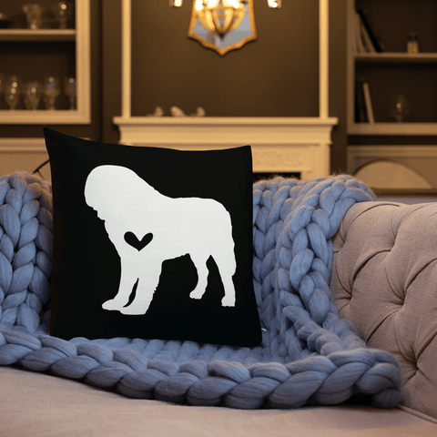 St Bernard dog silhouette custom black and white pillow