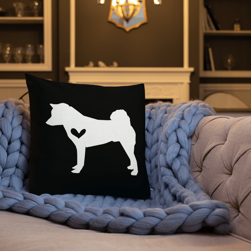 Shiba Inu dog silhouette custom black and white pillow