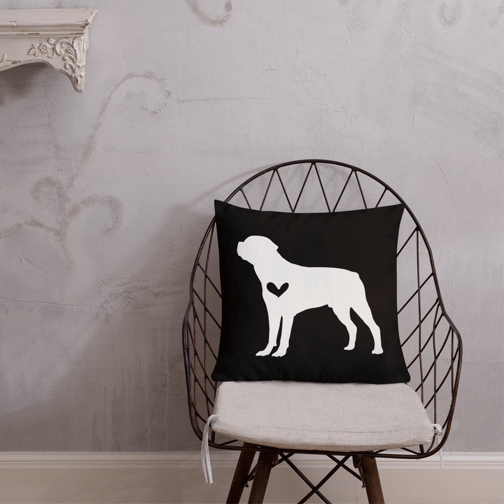 Rottweiler dog silhouette custom black and white pillow