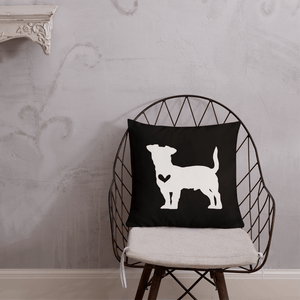 Jack Russell dog silhouette custom black and white pillow