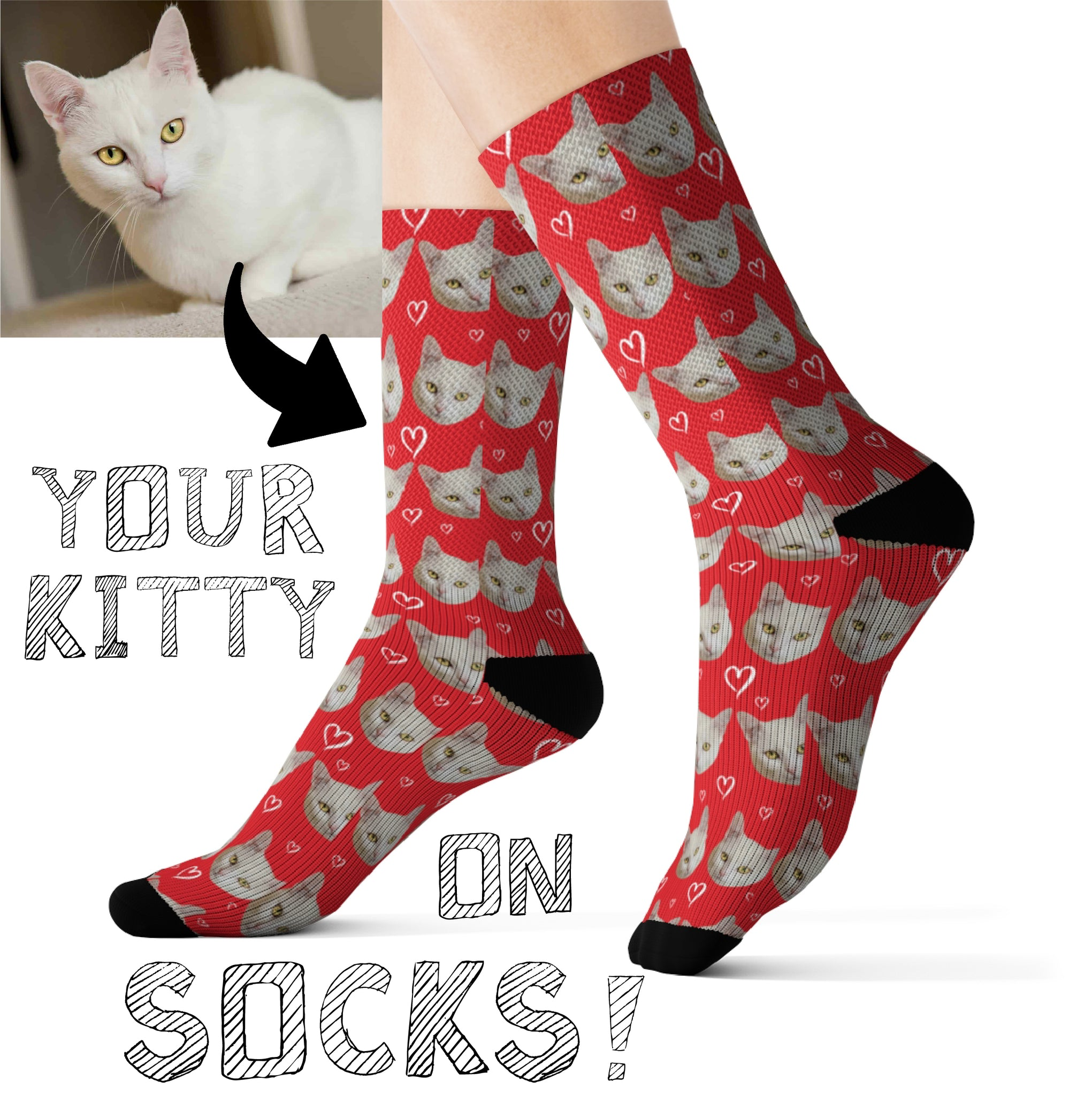Your Kitty Face on Socks Buy 1 Get 2 (Free Shipping)