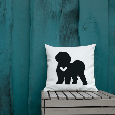 Shih Tzu dog silhouette custom black and white pillow