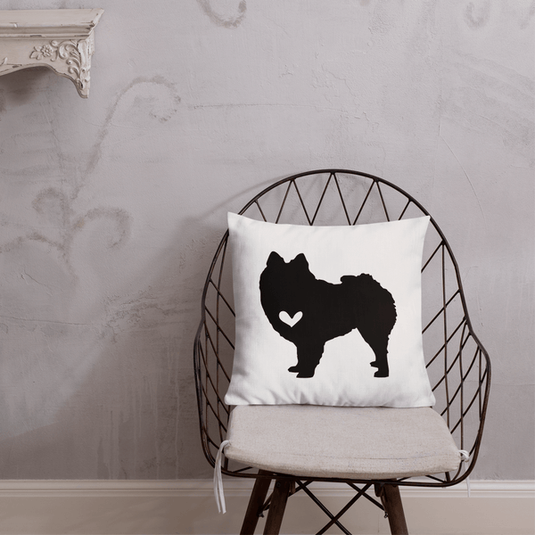 Pomeranian dog silhouette custom black and white pillow