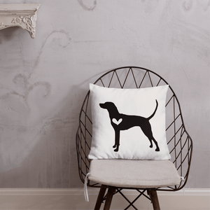 Vizsla dog silhouette custom black and white pillow