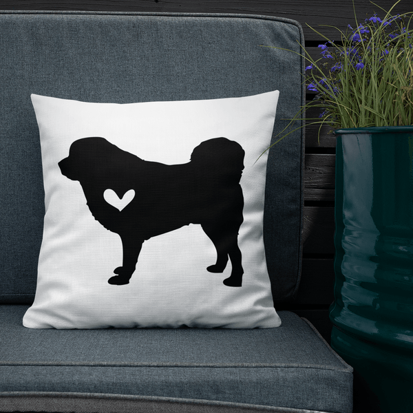 Tibetan Mastiff dog silhouette custom black and white pillow