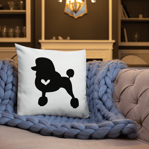 Poodle dog silhouette custom black and white pillow