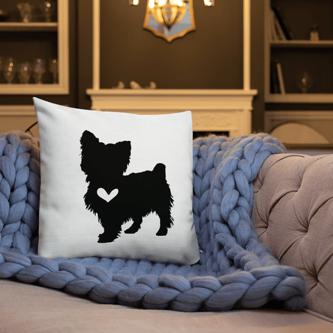 Yorkshire Terrier dog silhouette custom black and white pillow