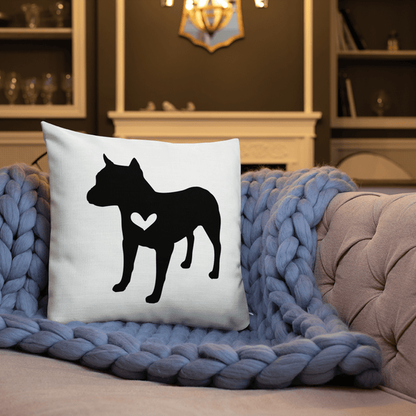 American Staff dog silhouette custom black and white pillow