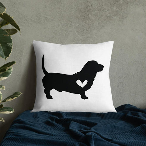 Basset dog silhouette custom black and white pillow