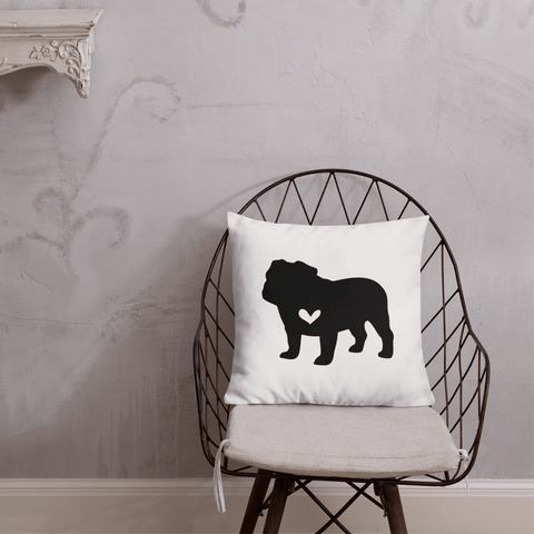 Bulldog dog silhouette custom black and white pillow
