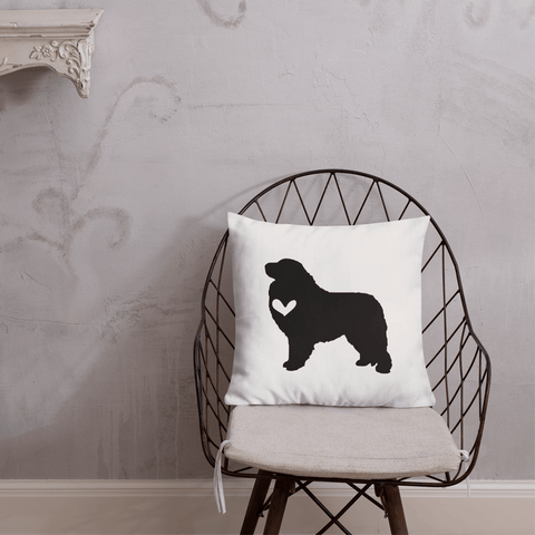 Great Pyrenees dog silhouette custom black and white pillow