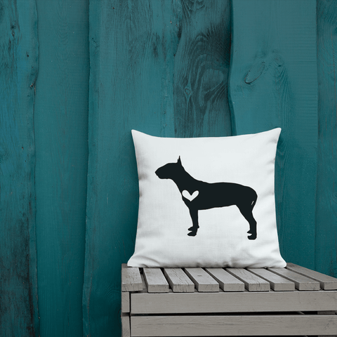 Bull Terrier dog silhouette custom black and white pillow