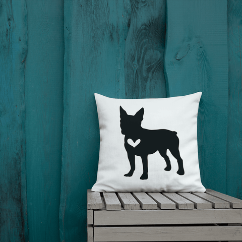 French Bulldog silhouette custom black and white pillow