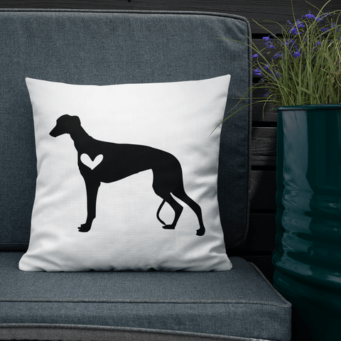 Grey Hound dog silhouette custom black and white pillow