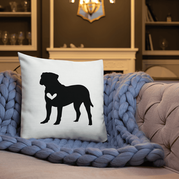 Bull Mastiff dog silhouette custom black and white pillow