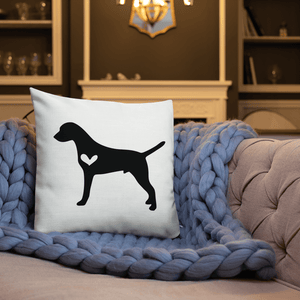 Dalmatian dog silhouette custom black and white pillow