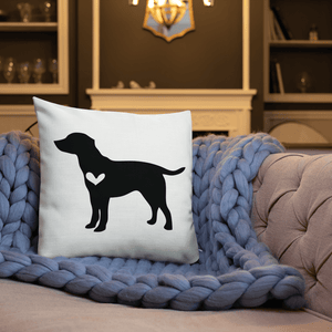Labrador dog silhouette custom black and white pillow