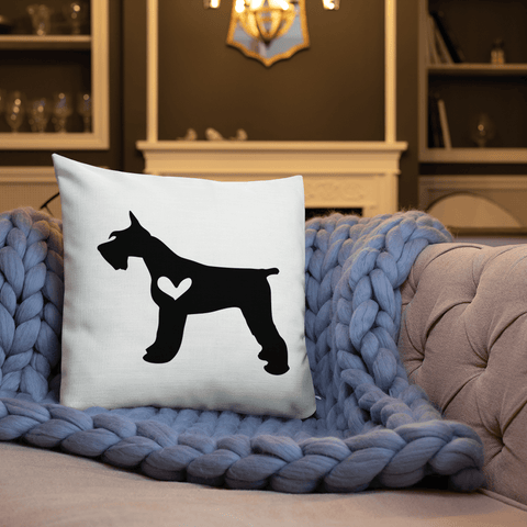 Schnauzer dog silhouette custom black and white pillow