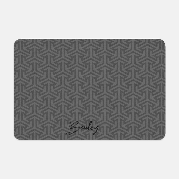 Personalized Pet Placemat, Non- slip food mat, Geometric Pattern