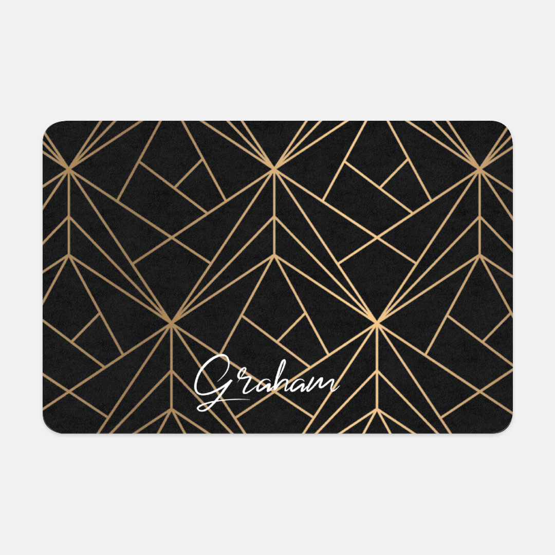 Personalized Pet Placemat, Non- slip food mat, Gold Geometric Pattern