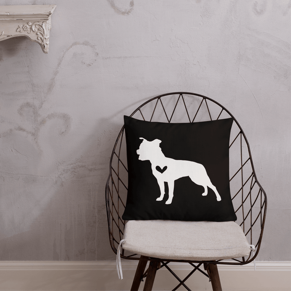 Stafffordshire Terrier dog silhouette custom black and white pillow