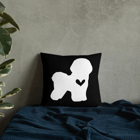 Bichon Frise dog silhouette custom black and white pillow