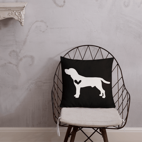 Beagle dog silhouette custom black and white pillow