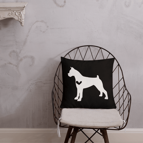 Boxer dog silhouette custom black and white pillow