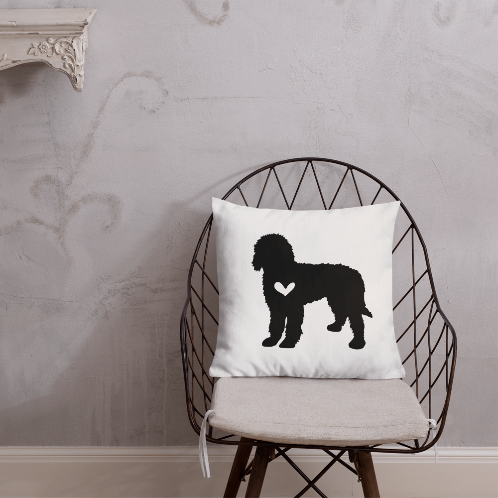 Labradoodle dog silhouette custom black and white pillow