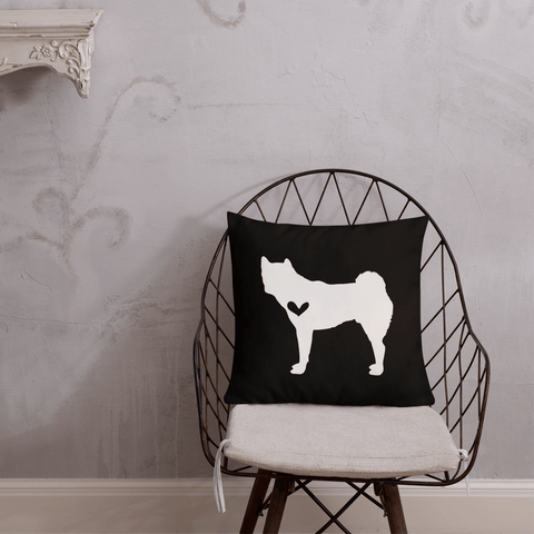 Akita dog silhouette custom black and white pillow