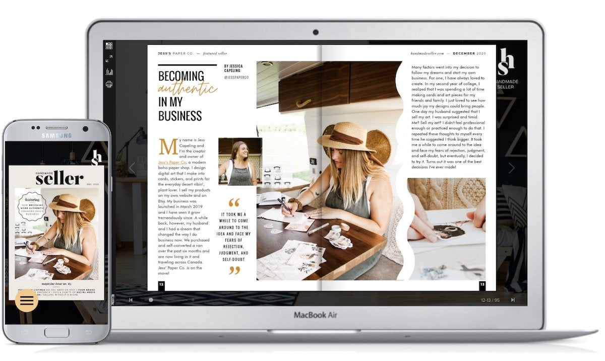 Jess' Paper Co featured in Handmade Seller Magazine