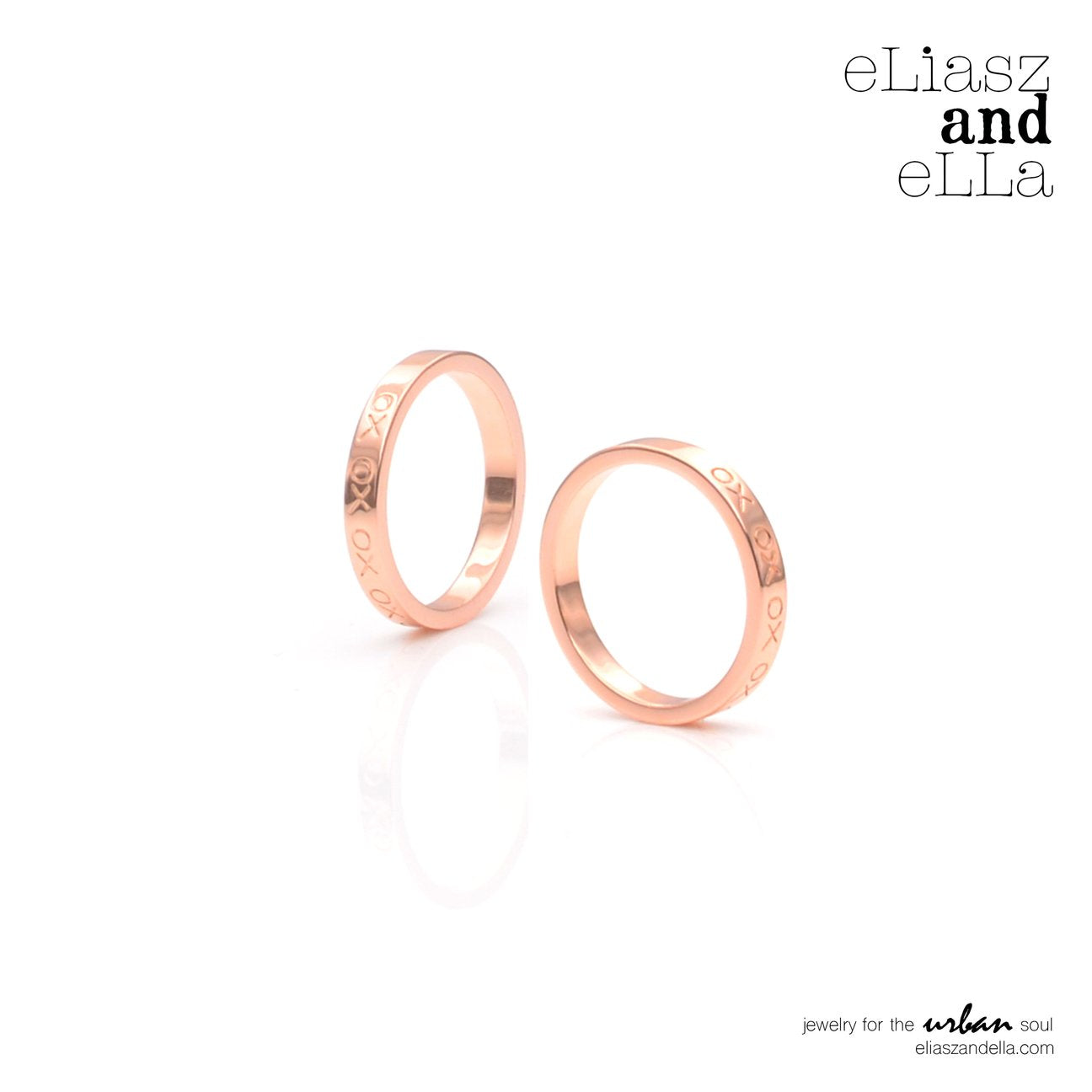 "eLiasz and eLLa ""XO"" Rose Gold Ring - Vida Boutique Inc."