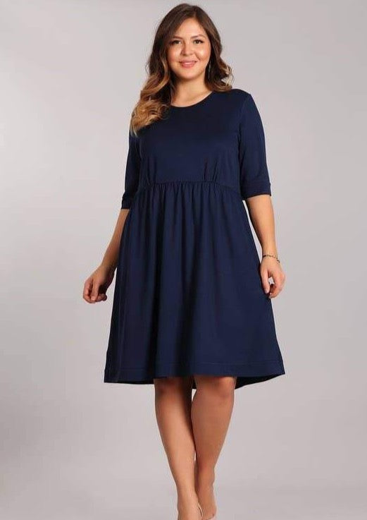 The Francis Navy Blue Baby Doll Dress - Vida Boutique Inc.