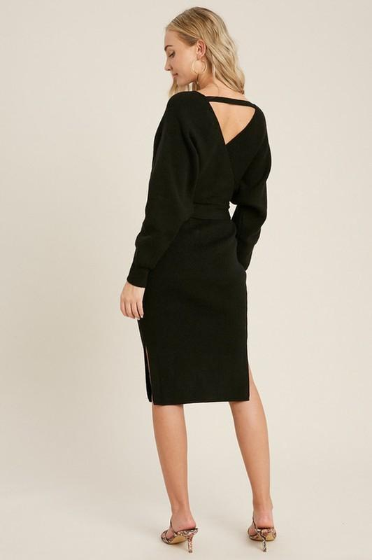 The Camila Belted Sweater Dress - Black - Vida Boutique Inc.