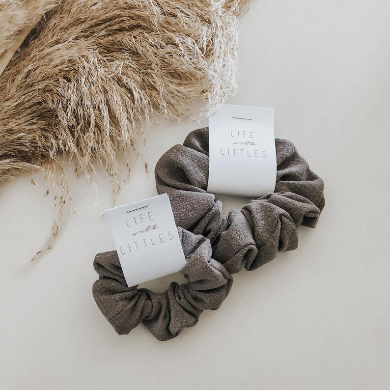 Life with Littles Co. Earth Tone Linen Scrunchies - Adult Size - Vida Boutique Inc.