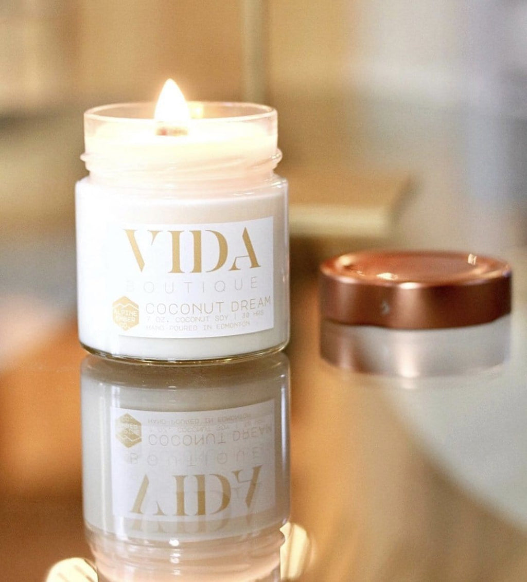 Vida Coconut Dream Candle 7 Oz or 2.5 Oz Wax Melt - Vida Boutique Inc.